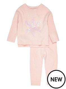 river-island-mini-girls-pink-snowflake-jumper-set