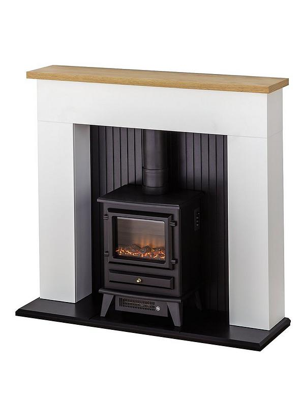 Adam Fires Fireplaces Innsbruck White Electric Fireplace Suite