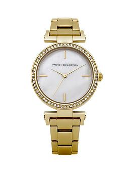 french-connection-french-connection-mother-of-pearl-dial-stone-set-bezel-goldtone-bracelet-ladies-watch