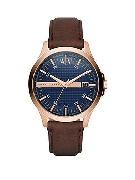 armani-exchange-blue-date-dial-rose-tone-dial-brown-strap-mens-watch