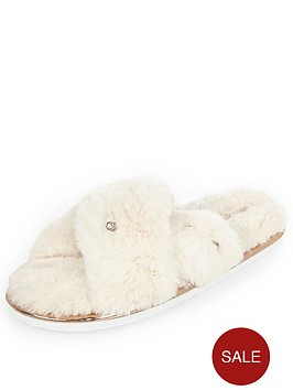 river-island-cream-cross-over-mule-slippers