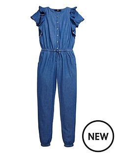 v-by-very-girls-chambray-ruffle-detail-jumpsuit
