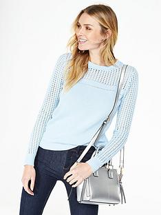 v-by-very-crew-neck-pointelle-panel-jumper