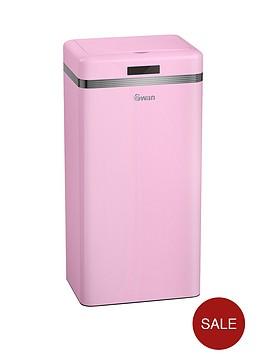 swan-retro-45-litre-square-sensor-bin-in-pink