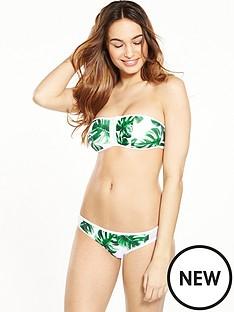 south-beach-palm-print-zip-and-mesh-detail-bandeau-bikini-set
