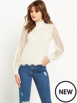 miss-selfridge-high-neck-lace-blouse