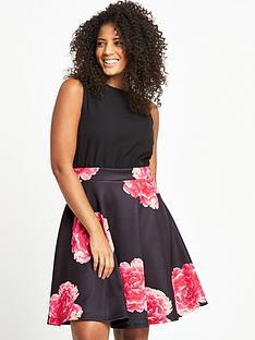 ax-paris-curve-curve-2-in-1-rose-print-midi-dress