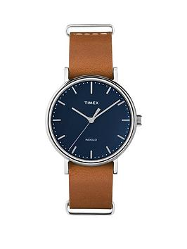 timex-timex-fairfield-blue-dial-brown-leather-strap-watch