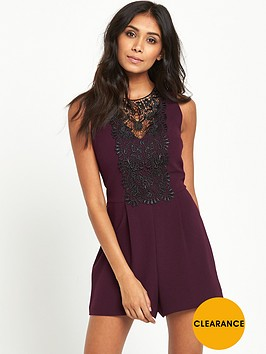 miss-selfridge-petite-lace-playsuit-burgundy