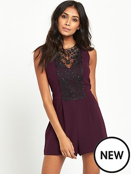 miss-selfridge-petite-wine-lace-playsuit