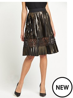 river-island-pleated-midi-skirt-with-mesh-insert-gold