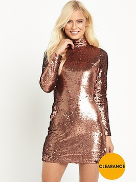 motel-long-sleeve-high-neck-sequin-mini-dress-copper