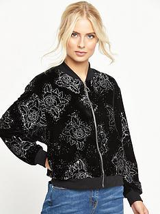 motel-glitter-print-velvet-bomber-jacket-black