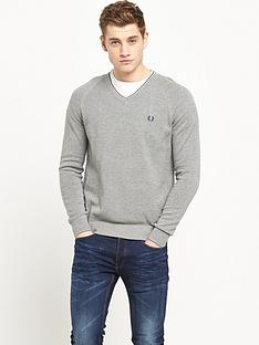 fred-perry-micro-bomber-tipped-v-neck-jumper