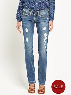 pepe-jeans-pepe-banji-destroyed-denim-slim-bootcut-jean
