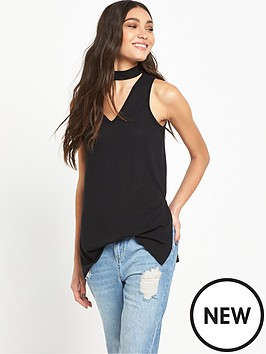 river-island-river-island-black-sleeveless-longline-knit-with-choker-detail