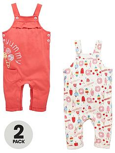 ladybird-baby-girls-2-pk-ice-cream-dungarees