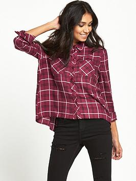 miss-selfridge-miss-selfridge-petite-burgundy-check-shirt
