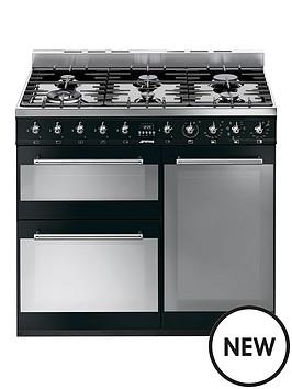smeg-smeg-sy93bl-90cm-dual-fuel-3-cavity-range-cooker-with-gas-hob