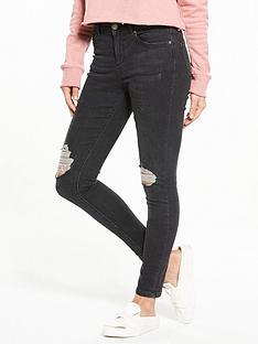miss-selfridge-busted-knee-lizzie-skinny-jean-black
