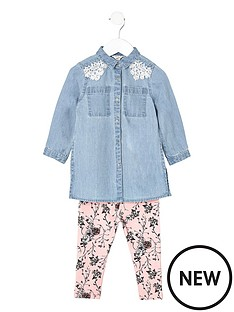 river-island-mini-girls-denim-shirt-and-floral-leggings-set
