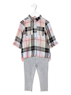 river-island-mini-girls-pink-check-shirt-and-jeggings-set