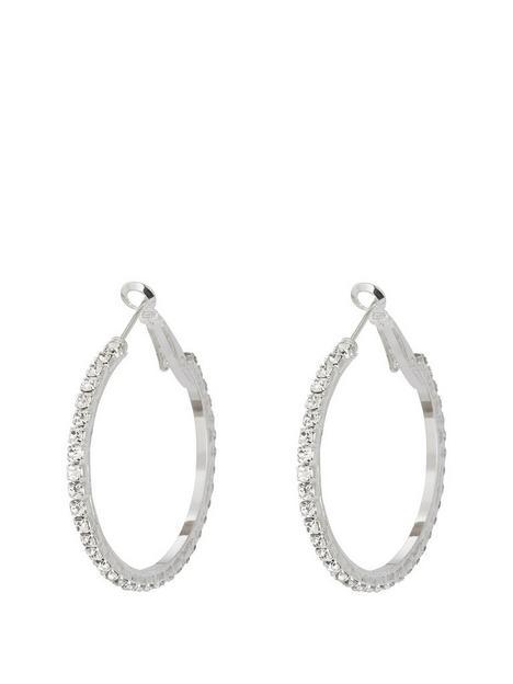 the-love-silver-collection-silver-tone-diamanteacutenbsp35mmnbsphoops