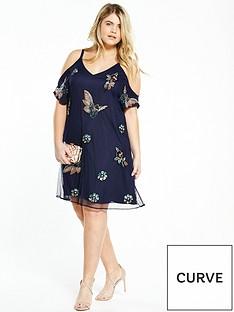 v-by-very-curve-embellished-cold-shoulder-dressnbsp--navy