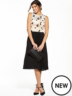 v-by-very-pleated-lace-midi-dress