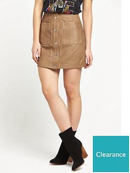 replay-leather-skirt-tan