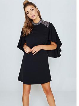 little-mistress-cape-sleeve-dress-with-embellishment-black