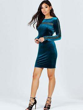girls-on-film-velvet-dress-with-crochet-insert-teal