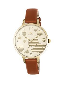 radley-radley-ormond-cream-dog-diak-brown-leather-strap-ladies-watch