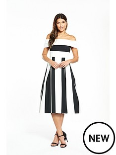 v-by-very-stripe-bardot-midi-prom-dress