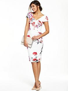 v-by-very-floral-v-neck-pencil-dress-whitenbsp
