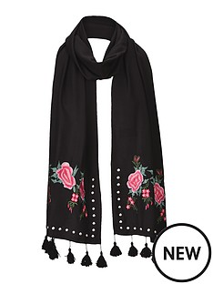 v-by-very-flower-embroiderednbspamp-stud-detail-scarf-blacknbsp