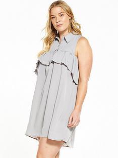 ax-paris-curve-cold-shoulder-ruffle-front-dress-black