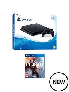 playstation-4-ps4-500gb-black-slim-console-with-battlefield-1-and-extra-dualshock-controller