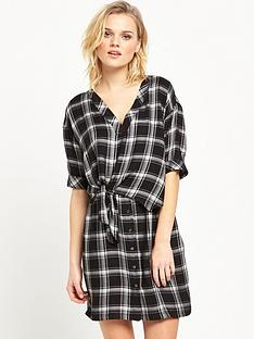 river-island-check-tie-front-swing-dress-blacknbsp