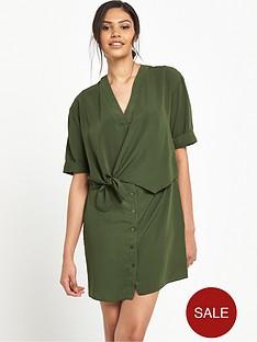 river-island-tie-front-swing-dress-khaki