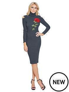 sistaglam-sistaglam-embroidered-high-neck-cold-shoulder-knitted-midi-dress