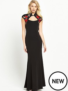 sistaglam-embroidered-mandarin-collar-maxi-dress-black