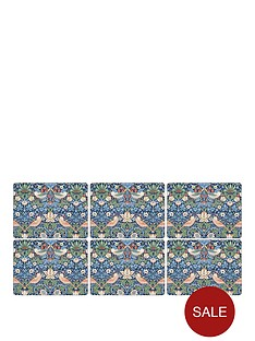 pimpernel-strawberry-thief-blue-placemats-ndash-set-of-6