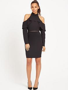 rochelle-humes-cold-shoulder-ruffle-front-dress-black