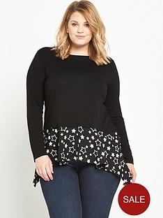 so-fabulous-woven-hanky-hem-jersey-top-black