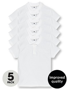 6befb89caa V by Very Girls 5 Pack School Polo Shirts - White