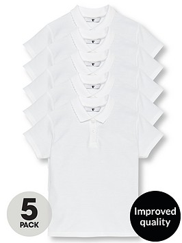 v-by-very-girls-5-pack-school-polo-shirts-white