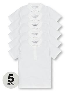 95135fb52 V by Very Boys 5 Pack Short Sleeve School Polo Shirts - White