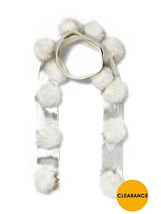 river-island-girls-cream-foil-pom-pom-scarf