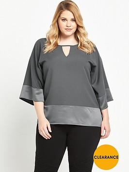 v-by-very-curve-satin-keyhole-blouse-grey